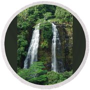 Opaekaa Waterfall Round Beach Towel