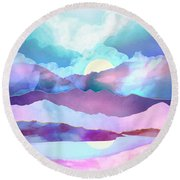 Opal Mountains Round Beach Towel
