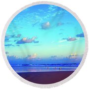 Open Beach Ponce Inlet Atlantic Ocean Round Beach Towel