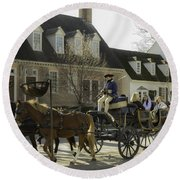 Open Carriage Ride In Colonial Williamsburg Virginia Round Beach Towel