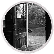 Open Door B-w Round Beach Towel