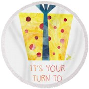 Open Gifts- Card Round Beach Towel