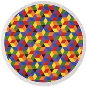 Open Hexagonal Lattice I Round Beach Towel
