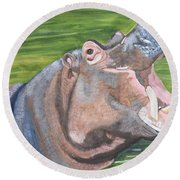 Open Mouthed Hippo On Wood Round Beach Towel
