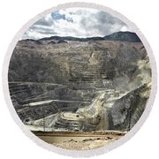 Open Pit Mine, Utah, United States Round Beach Towel