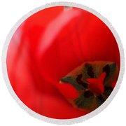 Open Red Tulip Round Beach Towel