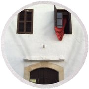 Open Window At The Chani Mestanas Round Beach Towel