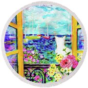 Open Window-colours Round Beach Towel