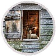 Open Window In Pioneer Home Round Beach Towel by Jill Battaglia