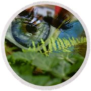 Open Your Eyes. Round Beach Towel