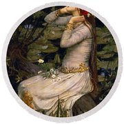 Ophelia Round Beach Towel by John William Waterhouse