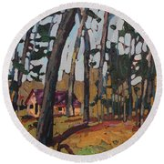 Opinicon Cabin Through The Oaks Round Beach Towel