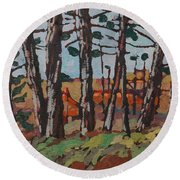 Opinicon November Forest Round Beach Towel