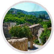 Oppede France - Street View Round Beach Towel