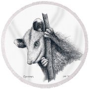 Virginia Opposum Round Beach Towel