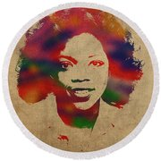Oprah Winfrey Vintage 1978 Watercolor Portrait Round Beach Towel