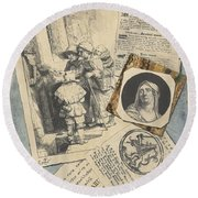 Optical Illusion With Prints And Pamphlets, L. Groskopf, C. 1746 Round Beach Towel