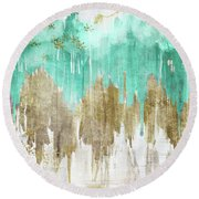 Opulence Turquoise Round Beach Towel