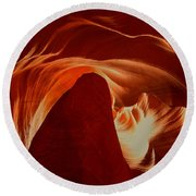 Orange Abstract At Upper Antelope Round Beach Towel