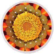 Orange African Daisy Round Beach Towel