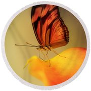 Orange And Black Butterfly Sitting On The Yellow Petal Round Beach Towel