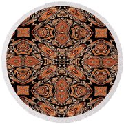 Orange And Black Mask Round Beach Towel