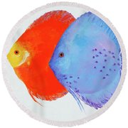 Orange And Blue Discus Fish Round Beach Towel