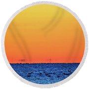 Orange And Blue Morning 2  Round Beach Towel