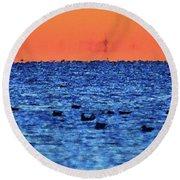 Orange And Blue Morning 4  Round Beach Towel