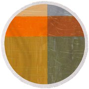 Orange And Grey Round Beach Towel