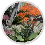 Orange And Pink Exotic Bell Flowers Round Beach Towel