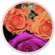 Orange And White With Pink Tip Roses Round Beach Towel