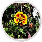 Orange And Yellow Flower Round Beach Towel