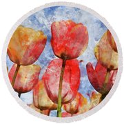 Orange And Yellow Tullips With Blue Sky Round Beach Towel
