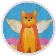 Orange Angel Cat Round Beach Towel