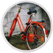 Orange Bicycle In The Street Round Beach Towel