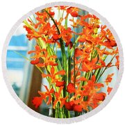 Orange Bloom Round Beach Towel