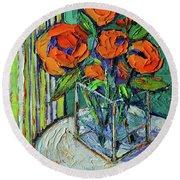 Orange Bloom - Textured Impressionist Palette Knife Oil Painting Mona Edulesco Round Beach Towel