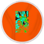 Orange Burst Flower Round Beach Towel