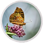 Orange Butterfly Round Beach Towel