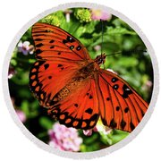 Orange Butterfly Round Beach Towel by Valeria Donaldson
