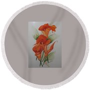 Orange Callas Round Beach Towel