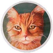 Orange Cat Round Beach Towel
