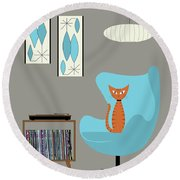 Orange Cat In Turquoise Egg Chair Round Beach Towel