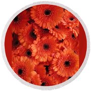 Orange Daisies Round Beach Towel