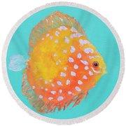 Orange Discus Fish With Purple Spots Round Beach Towel