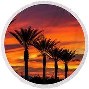 Orange Dream Palm Sunset  Round Beach Towel