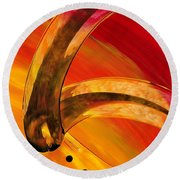 Orange Expressions Round Beach Towel by Sharon Cummings