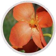 Orange Flower 1 Round Beach Towel