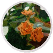 Orange Flower Abstract Round Beach Towel